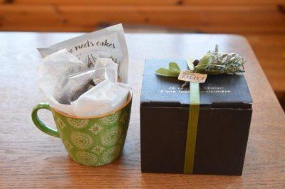マグカップ緑・チョコレート4個、ドリップコーヒー入